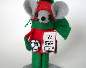 Christmas Ornament Boy Soccer Mouse felt  mice  gift Player or Mom Red and Green