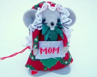 Felt Ornament MOM Christmas Mice Gift Red Green Tree Ornament Needleworker Gift