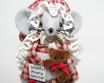 Christmas Ornament Beary Special Mouse Felt Mice Bear Lover Little Girl Tree Ornament