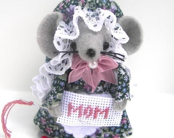Felt Mice Mom Needlepointer Gift Mothers Day Gift Whimsical Felt Animal by Warmth