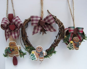 Christmas Ornament Gingerbread Grapevine Heart Rolling Pin Heartbox Set