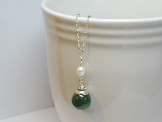 Jade and Pearl Necklace, Green Necklace, Jade Necklace, Lucky Green Necklace