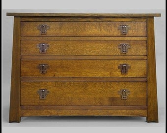 Mission, Arts and Crafts,  4 Drawer Chest, Mackintosh design and Hardware