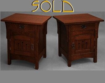 Arts and Crafts, Mission,  PAIR of End Tables, Nightstands, Quartersawn Oak