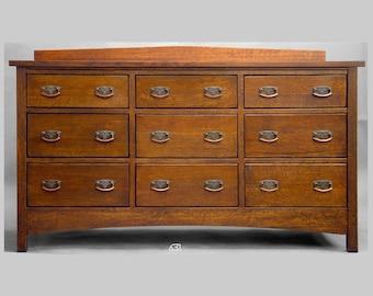Mission, Arts and Crafts, Nine Drawer Bureau, Dresser