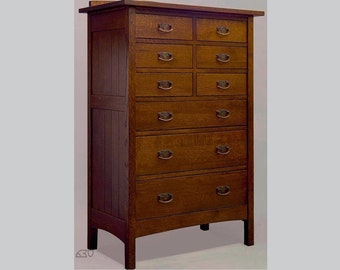 Mission, Arts and Crafts, Handmade  Nine Drawer Chest of Drawers