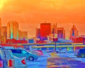 Pittsburgh Pa. Skyline Fine Art Photography, Enhanced Digital Art Print, 11x14 Giclee PRINT, EBSQ