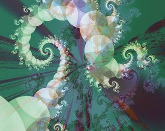 Spiral Fractal New media Art, 11x14 Giclee Print, Office Wall Art, Fractal Image Art, EBSQ