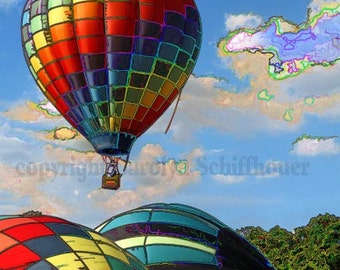 Hot Air Balloon Photograph, Wellsville, NY, Giclee Fine Art Photographic Print,