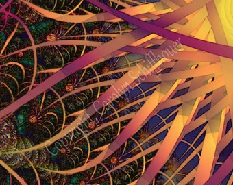Fractal Image Art, Algorithmic Art, 11x14 Giclee Print, Sun, EBSQ
