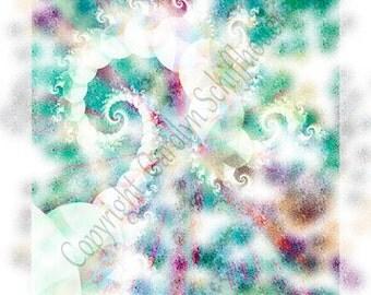 Jewel tone colors fractal art print, Fractal image Art,  EBSQ, 11x14 Giclee Print