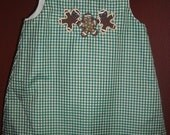Custom Boutique Handmade Girls Clothing Aline Jumper Green Gingham Three Gingerbread Men
