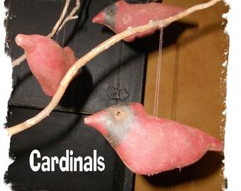 Cardinal bird ORNAment bowl filler 350e Primitive  Crows Roost Prims epattern immediate download