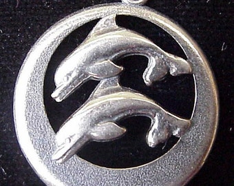 Double Dolphin Sterling Silver Pendant