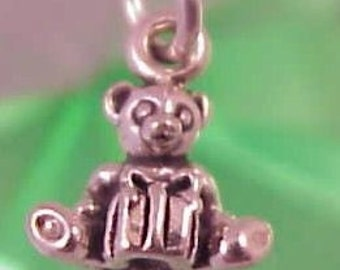 Teddy Bear with Present Sterling Silver 3D Charm