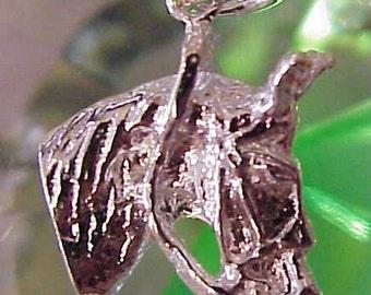 Sterling Silver Horse Head 3d Pendant