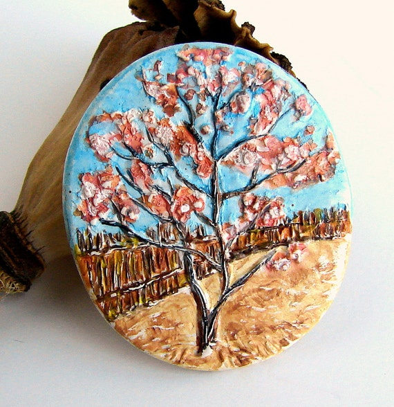 Handmade Polymer Clay Pendant/Focal - Imprint Series