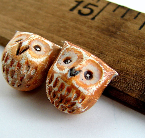 RESERVED LISTING - Handmade Polymer Clay Owl Beads