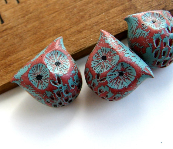 RESERVED LISTING - Handmade Polymer Clay Owl Bead