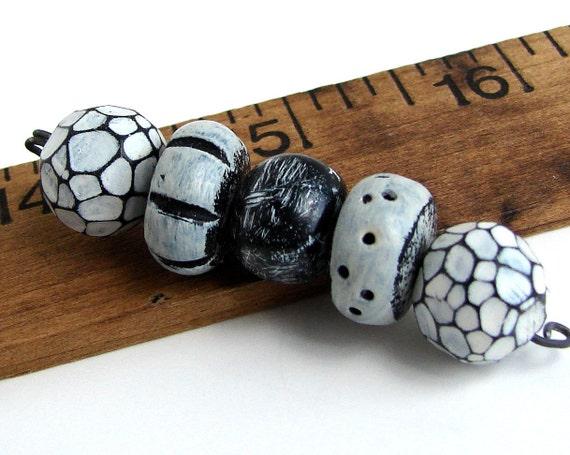 Handmade Polymer Clay Beads - Organic Black and Whites