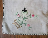 Vintage Table Cloth, Card Table Size, w/4 card suits hand embroidered
