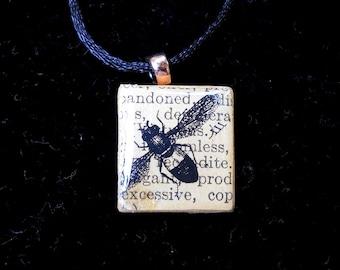 Insect Scrabble Tile Pendant
