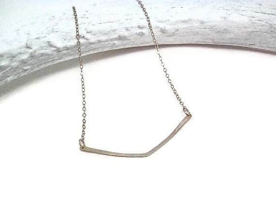 Chevron Bar Necklace Sterling Silver