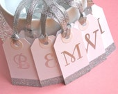 Personalized Bridesmaids Gift Tags, Wedding Favor Gift Tags, Silver, Glam, Set of 5