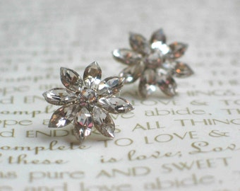 Wedding Flower Stud Earrings, Sparkly Wedding Earrings, Swarovski Crystals