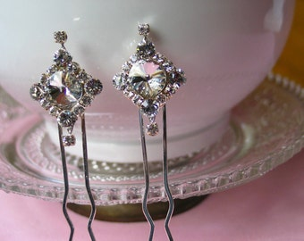 Swarovski Crystal Hair Pins, Wedding Hair Accessories, Bridal Glam Style,Set of 2