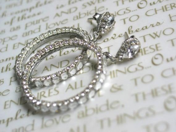 Bridal Hoop Earrings . Glam Sparkling Swarovski Crystals