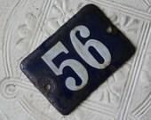 Vintage French Enamel Number - 56 - cobalt blue and white sign