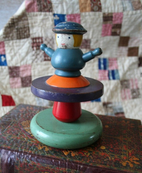 Stacking Toy Puzzles : Vintage puzzle toy stacking game holgate wooden toys