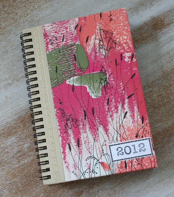ON SALE - 2012 Daily Weekly Planner - The BEST Calendar journal - Diary Appointment book - astract floral
