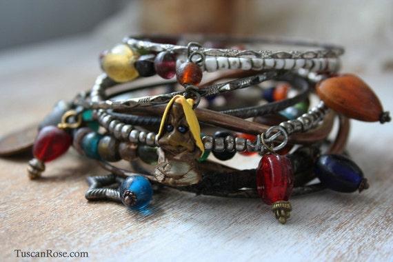Gnome Bangle Stack - set of 10 Bangles - woodland troll gypsy bracelets
