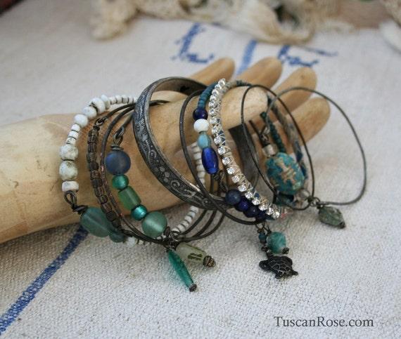 Ocean 5 - Bangle Stack - set of 10 Bangles - mermaid gypsy bracelets