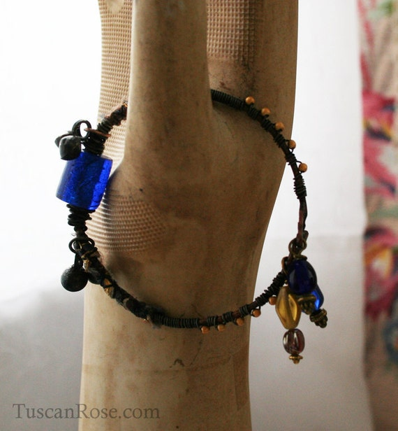 Bangle no.83a - urban gypsy jewelry - blue and gold