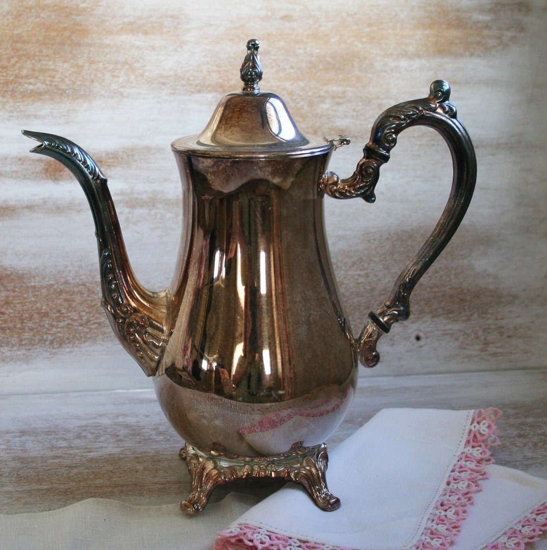 ON SALE vintage silver plate Coffee Pot tarnished silver