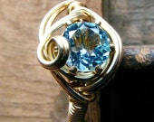 A Plus Sky Blue Topaz and Gold Fill Ring