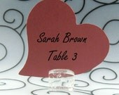 Heart Guest Cards Escort Cards Place Cards Blank - Pack of 12 - Choose Your Color in Plain, Pearl Shimmer, and Glitter Paper