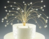 Spray Cake Topper - Gold, Clear and White - Wedding, Birthday, Anniversary Party