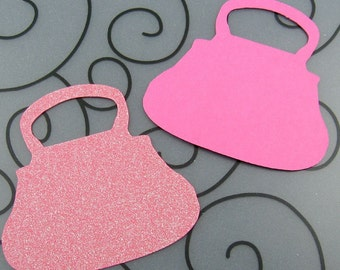 Purse Blank Favor Tags - Pack of 20 - Choose Your Color for Wedding, Party, Birthday in Plain, Pearl Shimmer, and Glitter Paper