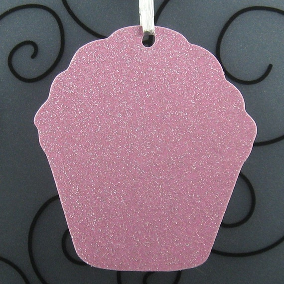 Cupcake Wish Tree Tag Blank - Pack of 8 - Choice of Color - for Wedding, Party, Birthday in Plain, Pearl Shimmer, and Glitter Paper