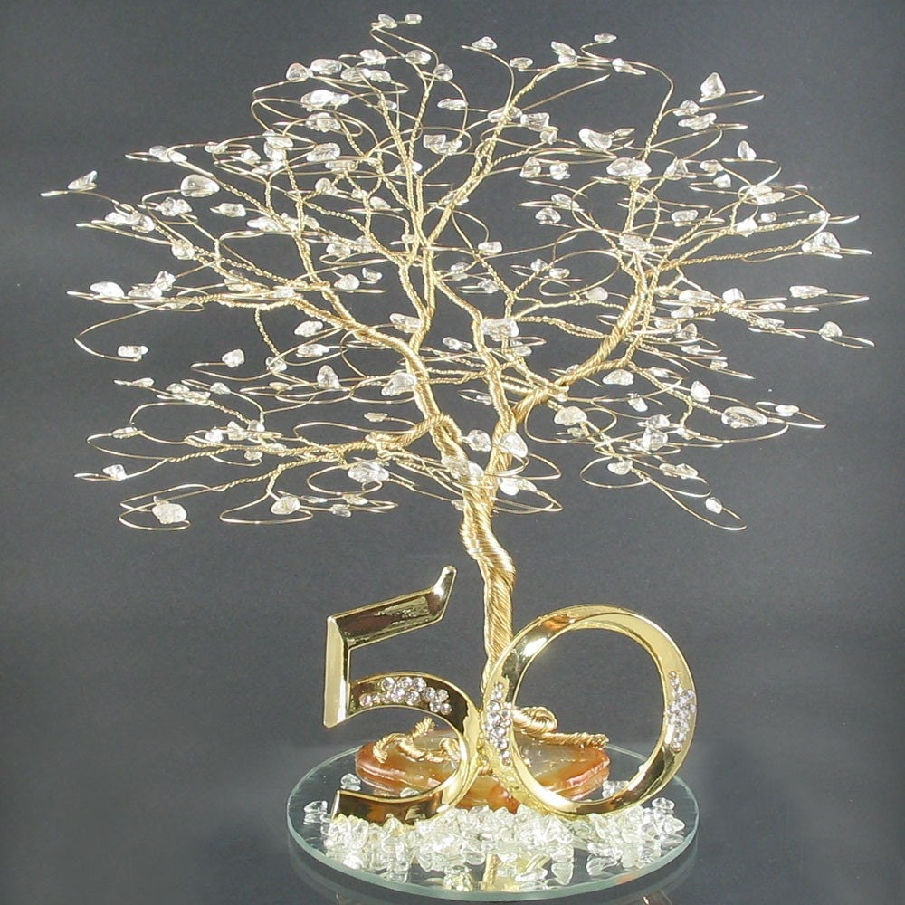Golden Wedding Anniversary Gift Ideas For Parents : 50th Anniversary Cake Topper or Centerpiece by byapryl on Etsy