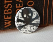 Skull and Crossbones on a Vintage Dictionary Page, One-Inch Pinback Button