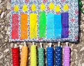 Rainbow Rolled Beeswax Fairy Candles, Set of Seven in Rainbow Colors
