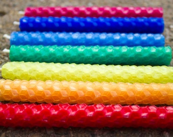 Rainbow Waldorf Ring Candles, Set of Seven Rolled Beeswax Candles
