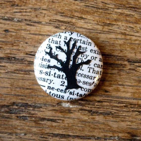 Little Tree on a Vintage Dictionary Page, One-Inch Pinback Button