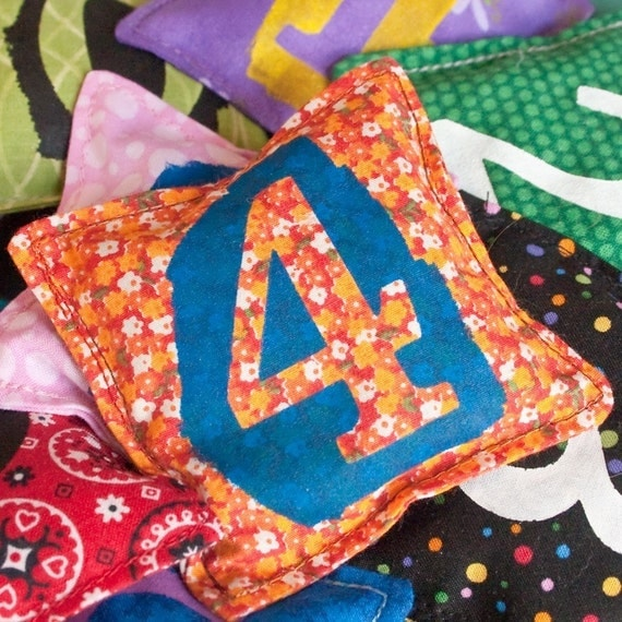 Number Bean Bags, Set of 10 with Numbers 0-9