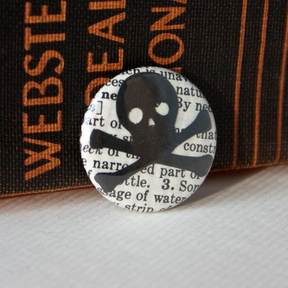 Little Skull and Crossbones on a Vintage Dictionary Page, One-Inch Pinback Button